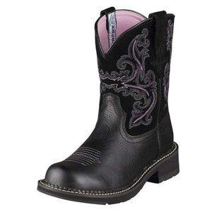 Ariat Fatbaby II Black Suede Purple Stitch Boots 7